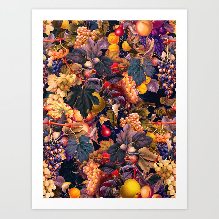 Vintage Fruit Pattern VI Art Print