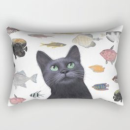 The Black Cat Waiting for a Fish to Come By Rectangular Pillow