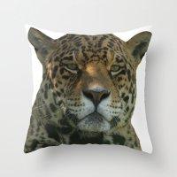 jaguar Throw Pillows featuring Jaguar by Sean Foreman
