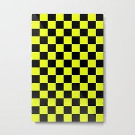 Checkered Pattern Black and Vivid Lemon Yellow Metal Print