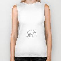 pig Biker Tanks featuring Pig by Paul Lapusan