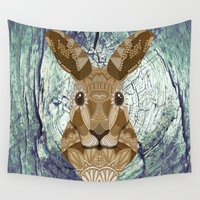 hare Wall Tapestries featuring Ornate Hare by ArtLovePassion