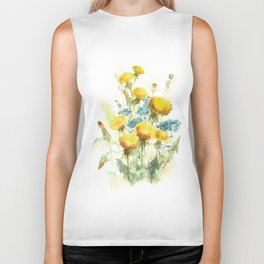 Watercolor flowers of blowball and forget-me-not Biker Tank