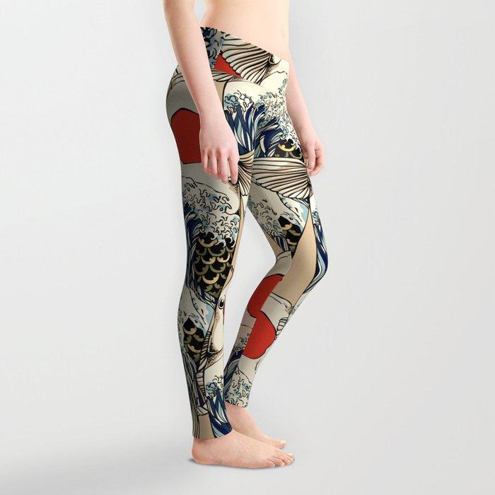 The Great Wave Of Koi Leggings