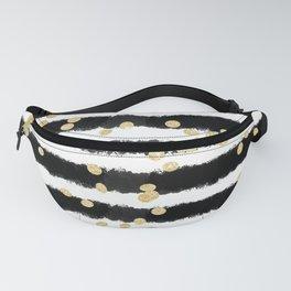 Modern black watercolor stripes chic gold confetti Fanny Pack