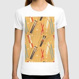 Bright Retro Skii Pattern T-shirt