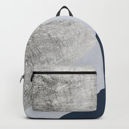 Modern minimalist navy blue grey and silver foil geometric color block Backpack