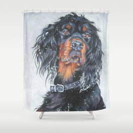 Gordon Setter dog art in snow from an original painting by L.A.Shepard Shower Curtain