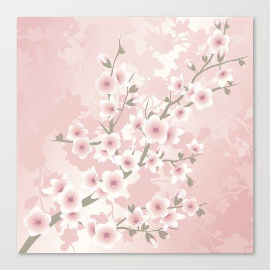 Vintage Floral Cherry Blossom Canvas Print