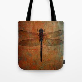 Dragonfly On Orange and Green Background Tote Bag