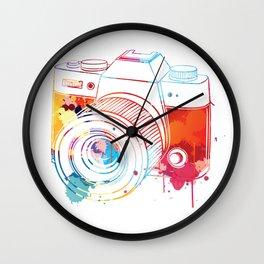 Camera Watercolor Wall Clock