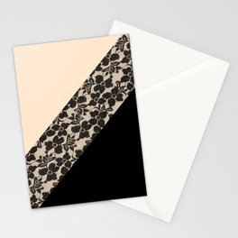 Elegant Peach Ivory Black Floral Lace Color Block Stationery Cards