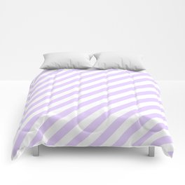 Chalky Pale Lilac Pastel and White Candy Cane Stripes Comforters