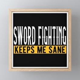Sword Fighting Lover Gift Idea Design Motif Framed Mini Art Print
