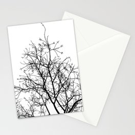 Naked Treetop in black and white stencil Stationery Cards