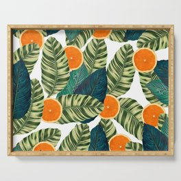 Oranges And Green Leaves Pop Serving Tray