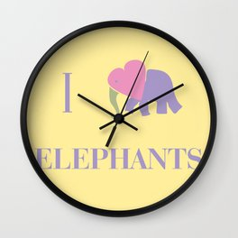 I Heart Elephants Wall Clock