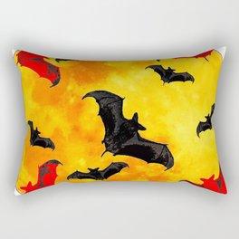 DECORATIVE FULL MOON  FLYING BLACK BATS HALLOWEEN Rectangular Pillow