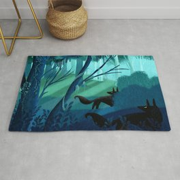 Shadow Wolves Stalk The Silver Wood Rug