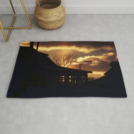 Winter Sunset Silhouette Rug