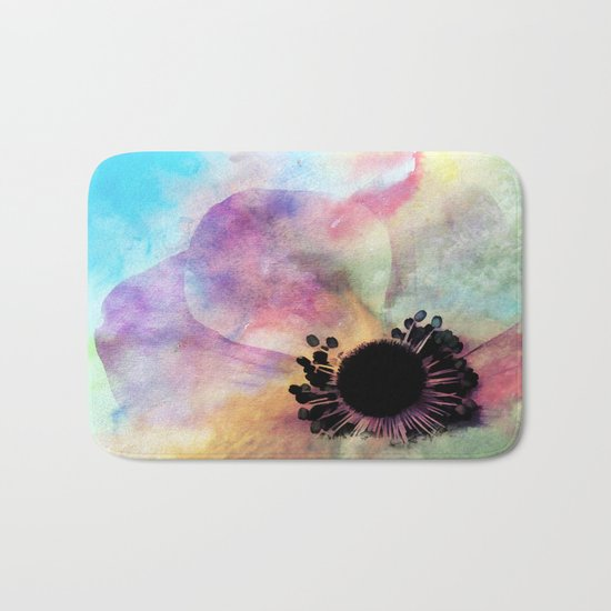 Abstract anemone one colorful  watercolor Bath Mat