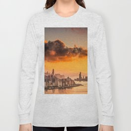 sunset over hong kong urban city skyline with victoria harbor Long Sleeve T-shirt