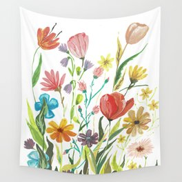 Colorful fragrant bouquet on a white background Wall Tapestry