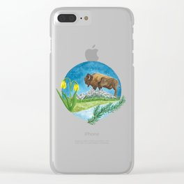 Bison Respect: Yellowstone Flora and Fauna Clear iPhone Case