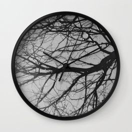 tree after the rain black and white Wall Clock