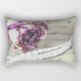 love letter with pearls and rose Rectangular Pillow