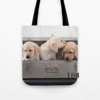 labrador Tote Bags featuring Labrador Puppy by Diandra