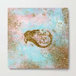 Faux Gold Glitter- REAL LIFE MERMAID On Sea Foam Metal Print