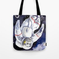 "neil gaiman Tote Bags featuring Neil the Sloth in Space! by Megan ""Tillette"" Jones"