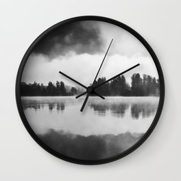 Morning fog above the lake in black and white Wall Clock