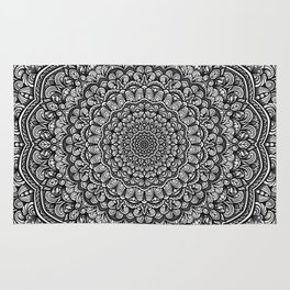Gray colors mandala Sophisticated black and white ornament Rug