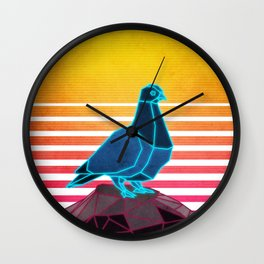Neon Retro Synthwave Pigeon Wall Clock