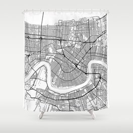 New Orleans Map White Shower Curtain