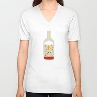 wine V-neck T-shirts featuring wine bottle by Marco Recuero