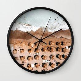 Ocean Coastal Print, Aerial Beach Print, Summer Home Decor Wall Art, Beach Umbrellas, Portugal Sea Art Print Wall Clock