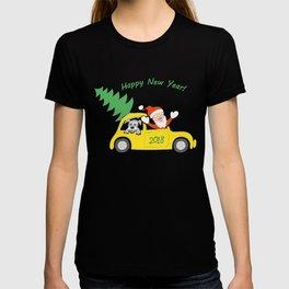 santa, dog and car 2018 T-shirt