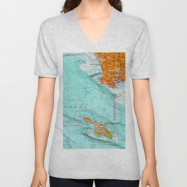 Long Beach colorful old map Unisex V-Neck
