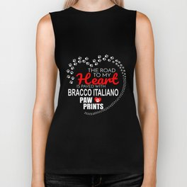The Road To My Heart Is Paved With Bracco Italiano Paw Prints Biker Tank