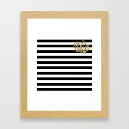 Black and White Stripes and Gold Crown 2 Framed Art Print