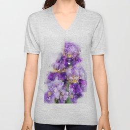 black iris watercolor Unisex V-Neck