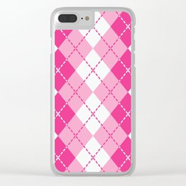 Argyle Design in Pink and White Clear iPhone Case