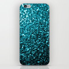 Beautiful Aqua blue glitter sparkles iPhone & iPod Skin