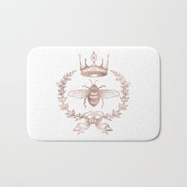 Queen Bee in Rose Gold Pink Bath Mat