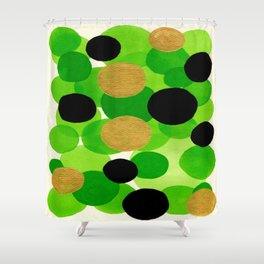 Lime Green Watercolor Bubbles Shower Curtain