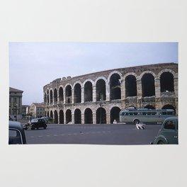 Vintage Color Photo * Verona Arena * Italy * 1950's * Antique Cars * Bus *Italian Rug
