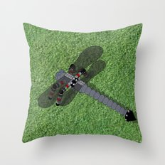 Mechanical Dragonfly Throw Pillow